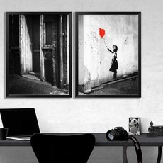 DUO de Quadros - Banksy - Girl with Red Balloon 54 x 72 cm