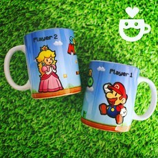 Caneca Mario e Princesa - Player 1 e 2