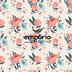 PD 019 - Estampa Floral aquarela 3 - Mint/melancia