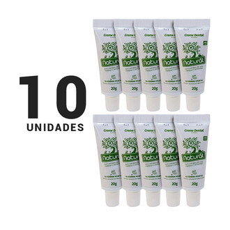 Kit com 10 Mini Cremes Dentais Natural - 20g cada