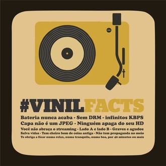 Plaquinha decorativa - '#VinilFacts' - 20X20cm