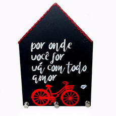 Porta Chaves Casinha com bike H32
