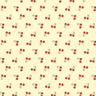 tecido Mini Cerejas fundo creme (Tiny Cherry)
