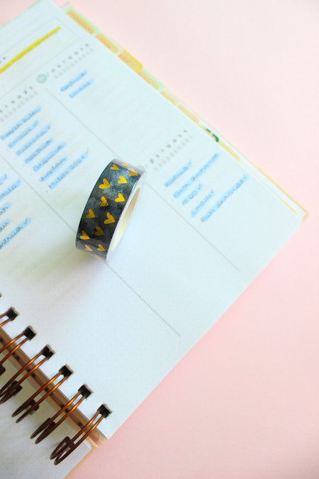 Washi tape golden hearts