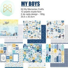 KIT PAPÉIS 12x12 - MY MEMORIES CRAFTS - MY BOYS