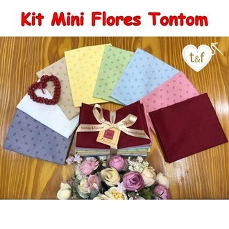 kit tecidos Mini Flores Tontom