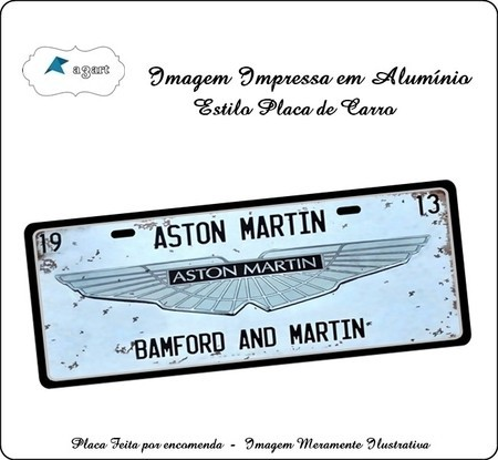Placa de carro Decorativa da Aston Martin