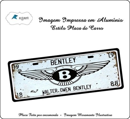Placa de carro Decorativa marca Bentley