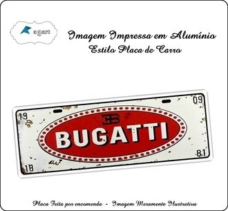 Placa de carro Decorativa marca Bugatti