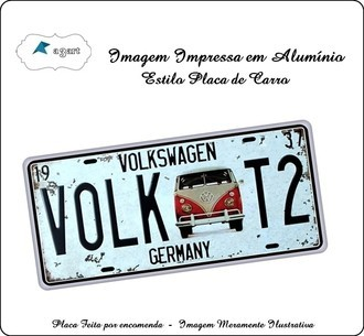 Placa de carro Decorativa marca Volks T2