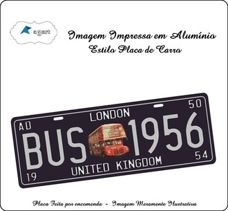 Placa de carro Decorativa marca Bus London