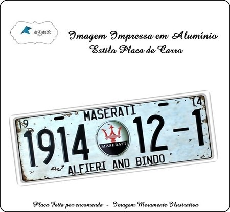 Placa de carro Decorativa marca Maserati