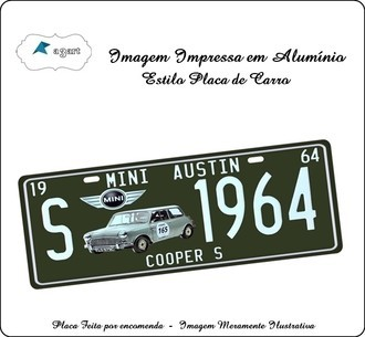 Placa de carro Decorativa marca Mini Austin