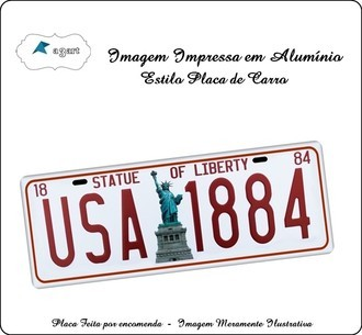 Placa de carro Decorativa State of Liberty