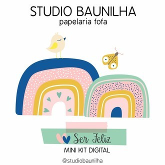 Mini Kit Digital Ser Feliz para Planners e Scrapbooking