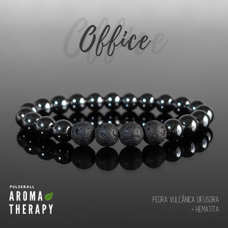Pulseira OFFICE - Hematita e Lava Rock