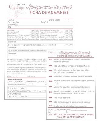Kit de Fichas- Alongamento de Unhas