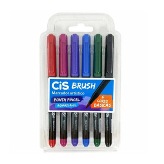 Kit 6 Cores Cis Brush Aquarelável Cores Básicas