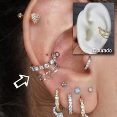 Piercing Conch Correntinha Strass