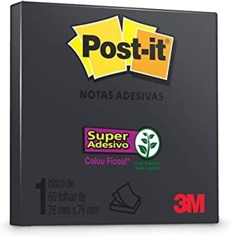 Bloco De Notas Super Adesivas Post-It Preto 76 Mm X 76 Mm