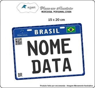 Placa de Moto Decorativa do Mercosul com seu nome