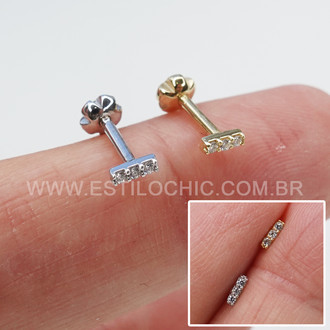 Piercing Barrinha Rosca Ouro 3 Cristais
