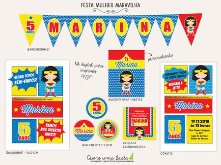 Festa Mulher Maravilha Kit Digital