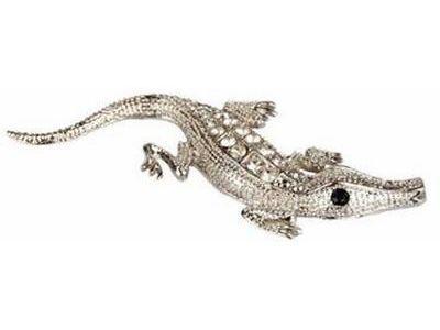 Silver Cute 3D Crocodile Decal Sticker <em>Car</em> Bike Emblem logo Rear Front Doors
