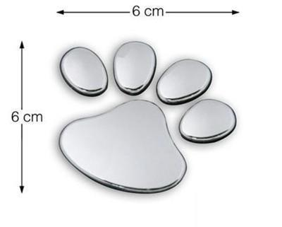 Silver Cute 3D Paw Decal Sticker <em>Car</em> Bike Emblem logo Rear Front kIT pART Doors