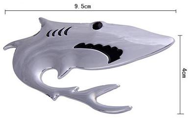 Silver Cute 3D Shark Decal Sticker <em>Car</em> Bike Emblem logo Rear Front Doors Parts