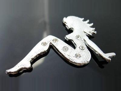 Silver Cute 3D Lady Girl Decal Sticker <em>Car</em> Bike Emblem logo Rear Front Doors