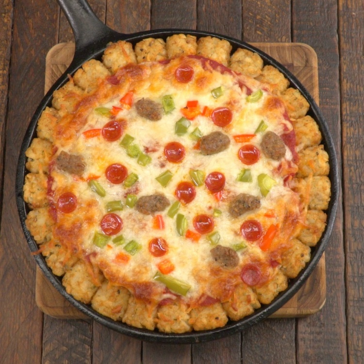 Baked tater tot pizza from above