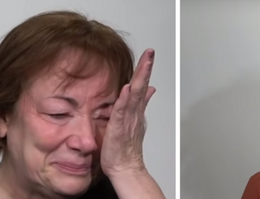 Split image of woman crying