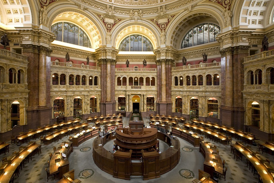 Inside of the Library of Congress.