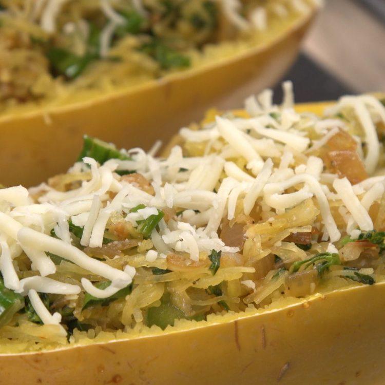Cheesy Broccolini Spaghetti Squash cheese on top