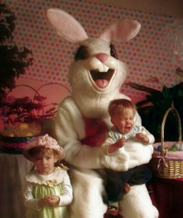 Image of scared children with creepy Easter bunny.