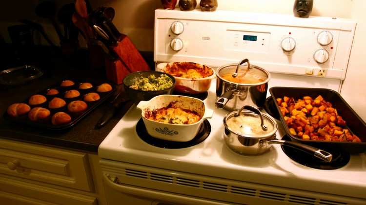 Food cooking on a stove