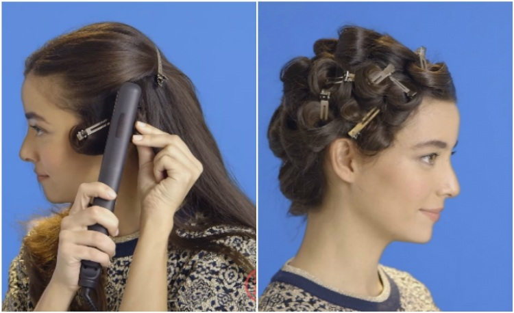 Coil hair and press with flat iron to create classic finger waves