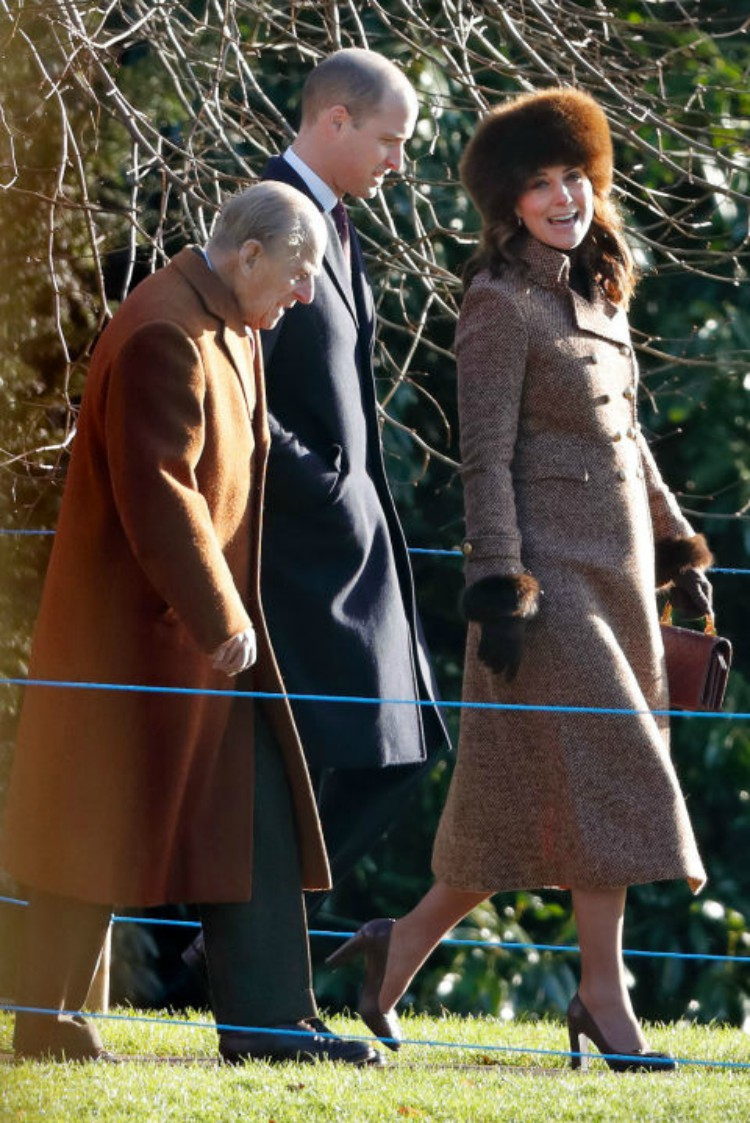 Image of Kate Middleton in brown plaid tweed coat.