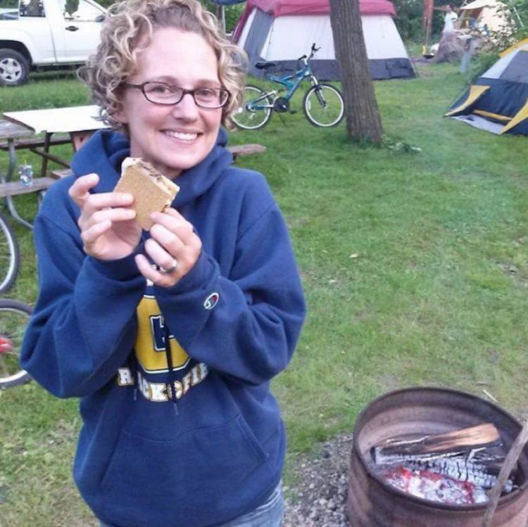 Autumn Brandon eating s'mores!