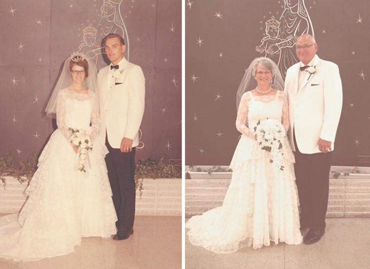 Image of couple reenacting wedding photo