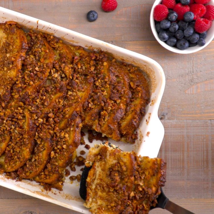 french toast bake serving from above