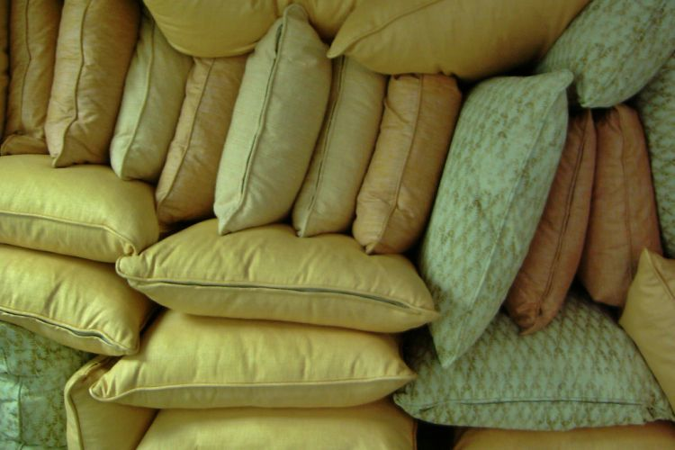 Lots of multicolored pillows