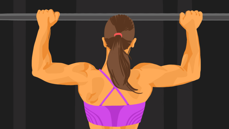 Woman doing a pull-up.