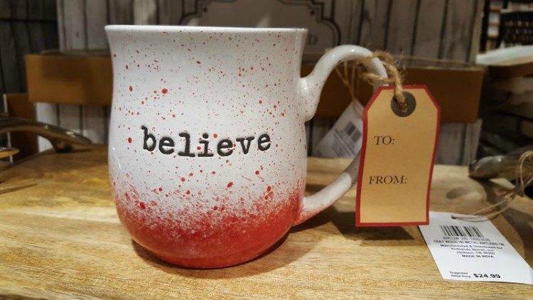 Red splattered mug.