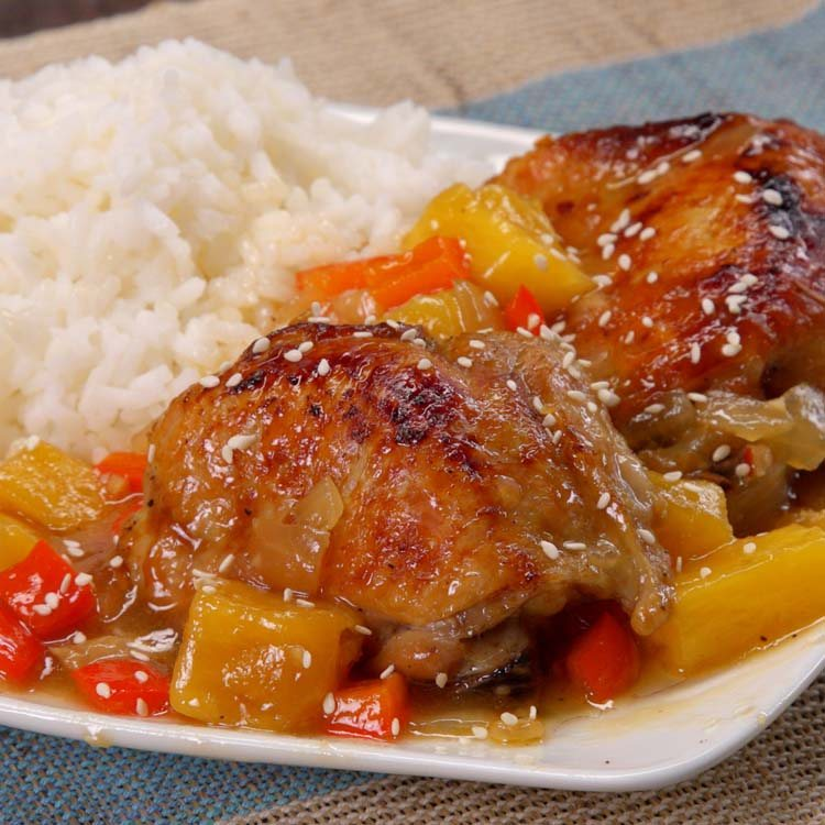 Slow Cooker Pineapple Chicken plated sesame seeds