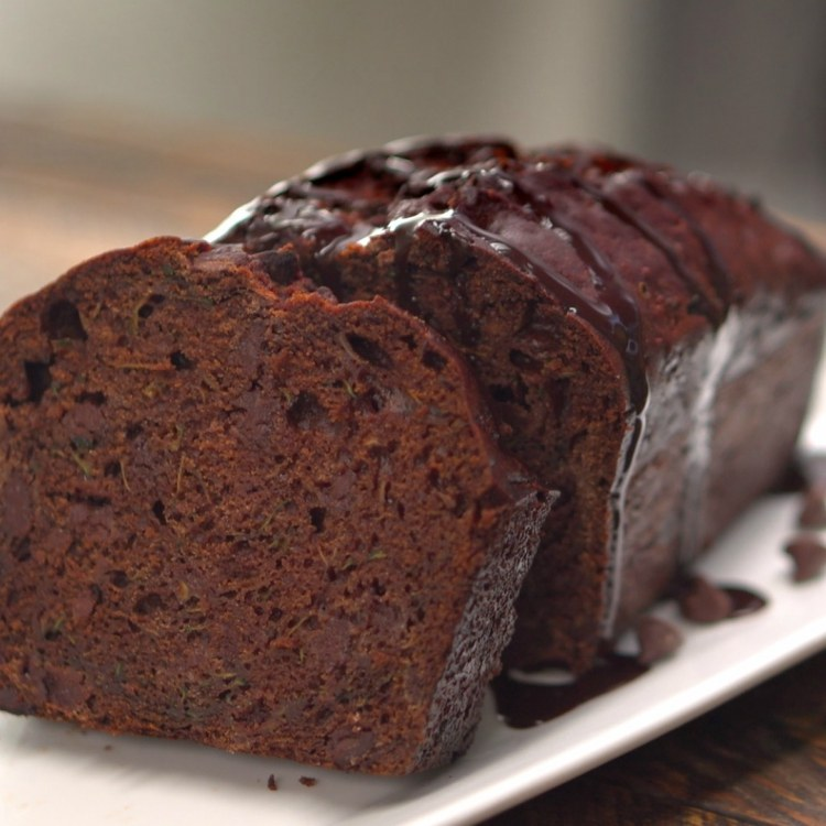 Sliced loaf of double chocolate zucchini bread