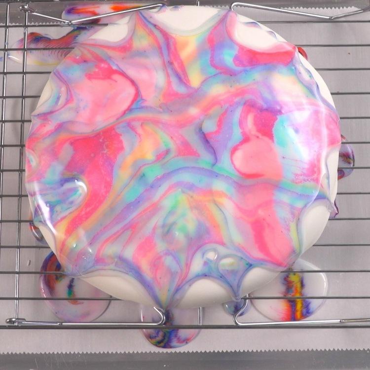 Overhead Tie Dye Cake