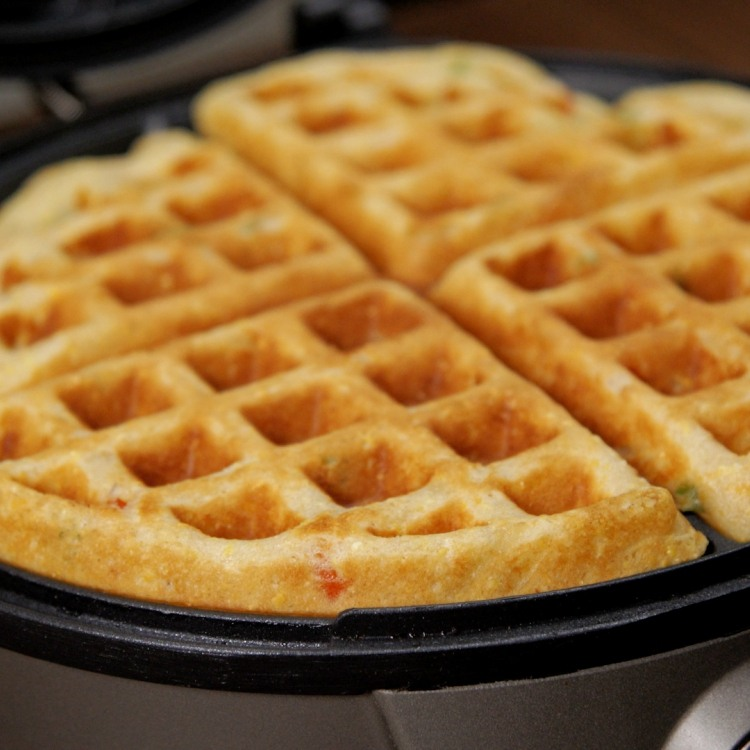 Waffles made with cornmeal and buttermilk