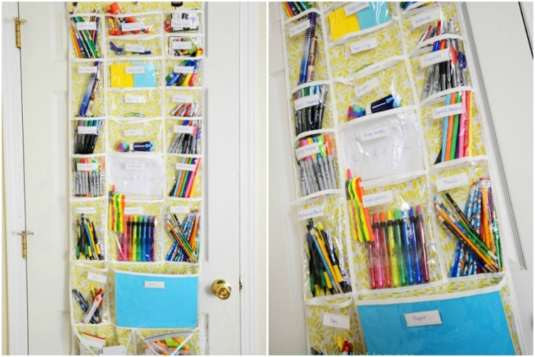 Use an over-the-door Dollar Store shoe organizer for school supplies